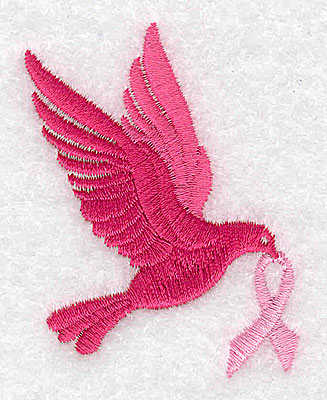 Embroidery Design: Dove with breast cancer ribbon small 1.93w X 2.48h