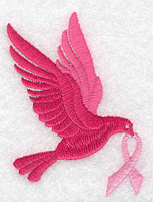 Embroidery Design: Dove with breast cancer ribbon medium 2.51w X 3.22h