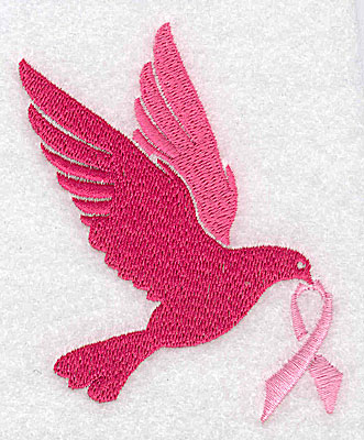 Embroidery Design: Dove with breast cancer ribbon large 3.01w X 3.88h