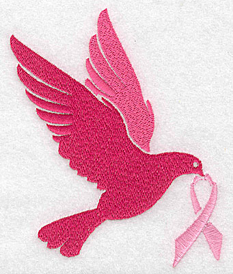 Embroidery Design: Dove with breast cancer ribbon extra large 3.80w X 4.96h