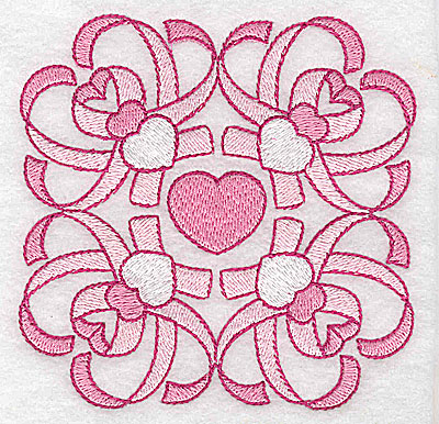Embroidery Design: Ribbons and hearts small 3.85w X 3.65h