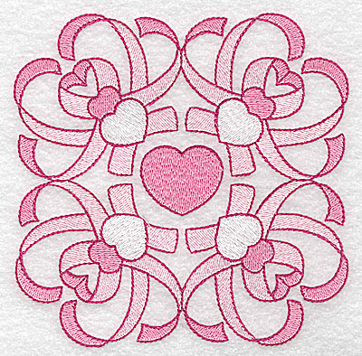 Embroidery Design: Ribbons and hearts large 4.96w X 4.97h