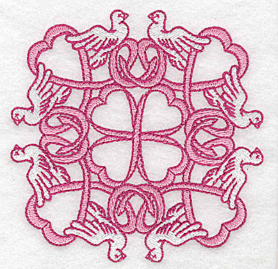 Embroidery Design: Ribbons and doves small 3.87w X 3.87h