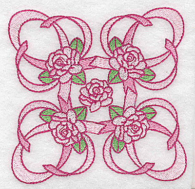 Embroidery Design: Ribbons and roses small 3.82w X 3.82h
