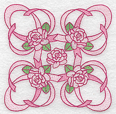 Embroidery Design: Ribbons and roses large 4.93w X 4.93h