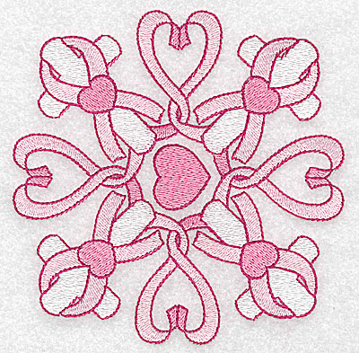 Embroidery Design: Ribbons hearts and crosses large 4.94w X 4.94h