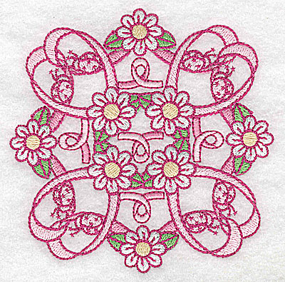 Embroidery Design: Ribbons daisies and ladybugs 3.86w X 3.86h