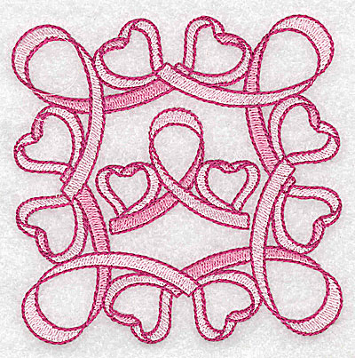 Embroidery Design: Ribbons bows and hearts small 3.83w X 3.83h