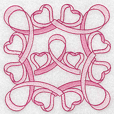 Embroidery Design: Ribbons bows and hearts large 4.97w X 4.97h