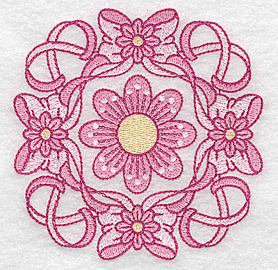 Embroidery Design: Ribbons bows and flowers small 3.83w X 3.83h