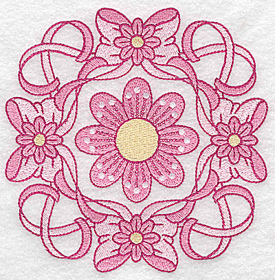 Embroidery Design: Ribbons bows and flowers large 4.97w X 4.97h
