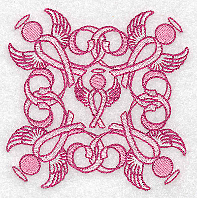 Embroidery Design: Ribbons and angels small 3.81w X 3.81h