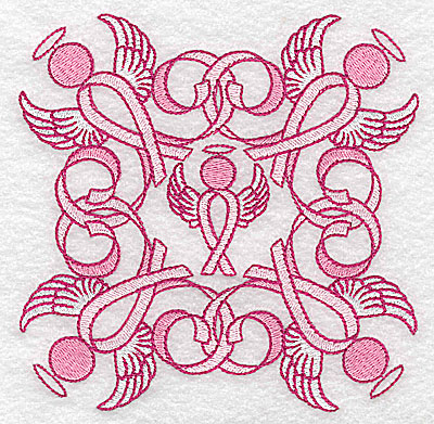 Embroidery Design: Ribbons and angels large 4.95w X 4.95h