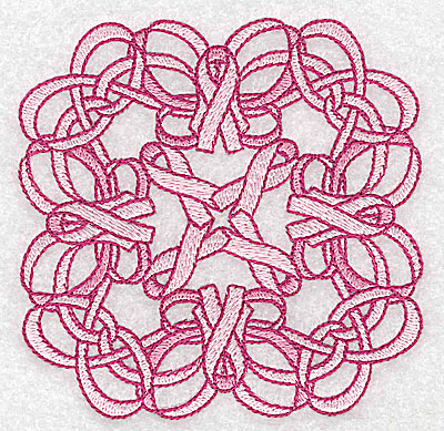 Embroidery Design: Ribbons and bows intertwined small 3.83w X 3.83h