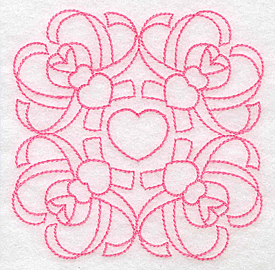 Embroidery Design: Ribbons and hearts rework small 3.85w X 3.85h