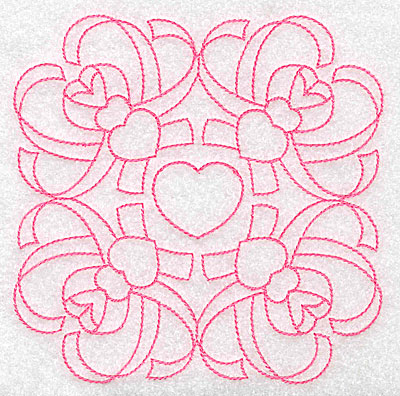 Embroidery Design: Ribbons and hearts rework large 4.96w X 4.97h