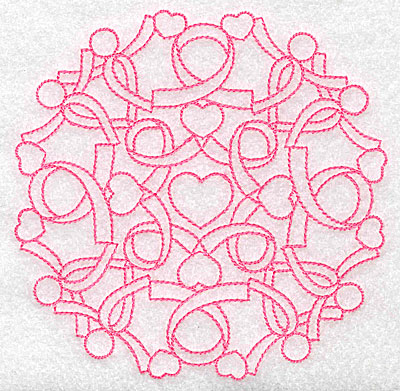 Embroidery Design: Ribbons and mini hearts redwork large 4.96w X 4.95h