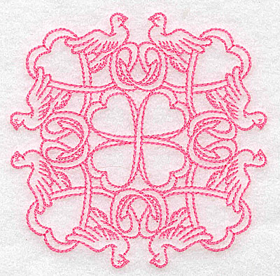 Embroidery Design: Ribbons and doves rework small 3.87w X 3.87h