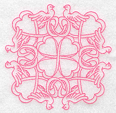 Embroidery Design: Ribbons and doves rework large 4.95w X 4.95h