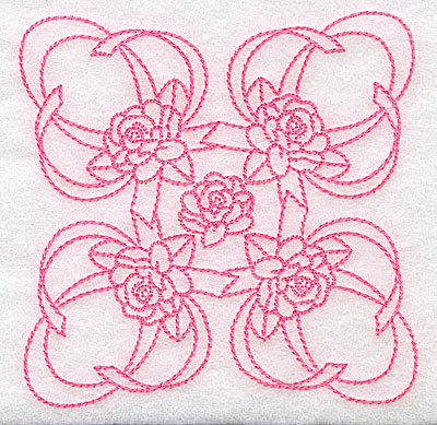 Embroidery Design: Ribbons and roses rework small 3.82w X 3.82h