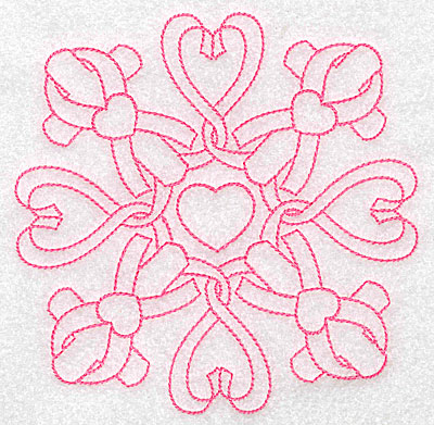 Embroidery Design: Ribbons hearts and crosses redwork large 4.98w X 4.98h