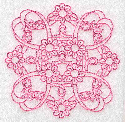 Embroidery Design: Ribbons daisies and ladybugs rework small 3.85w X 3.85h
