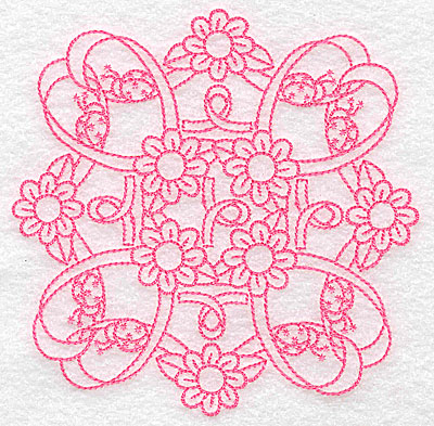 Embroidery Design: Ribbons daisies and ladybugs redwork large 4.96w X 4.96h