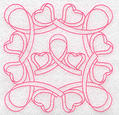 Embroidery Design: Ribbons hearts redwork large 4.97w X 4.97h