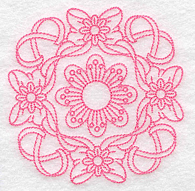 Embroidery Design: Ribbons bows and flowers rework small 3.83w X 3.83h