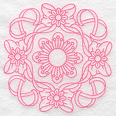Embroidery Design: Ribbons bows and flowers rework large 4.97w X 4.97h
