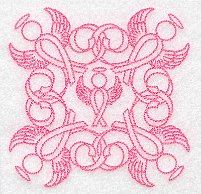 Embroidery Design: Ribbons and angels rework small 3.89w X 3.89h
