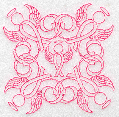 Embroidery Design: Ribbons and angels rework large 4.98w X 4.98h