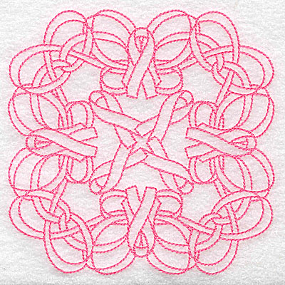 Embroidery Design: Ribbons and bows intertwined redwork large 4.99w X 4.99h