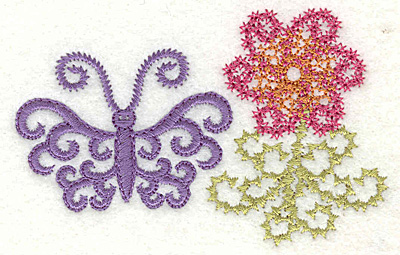 Embroidery Design: Butterfly and flower 3.32w X 2.14h
