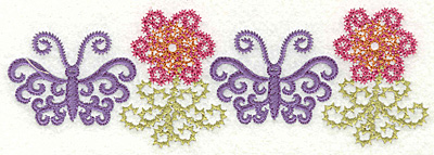 Embroidery Design: Butterfly and flower border 6.39w X 2.14h