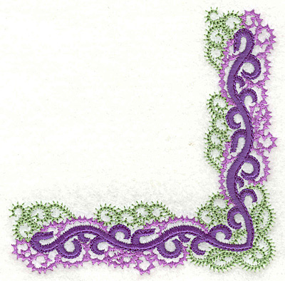 Embroidery Design: Curly swirls corner large 4.14w X 4.14h