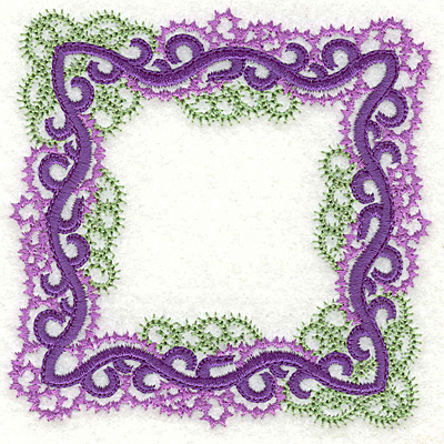 Embroidery Design: Curly swirls frame small 3.84w X 3.84h