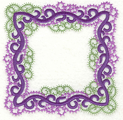 Embroidery Design: Curly swirls frame large 4.96w X 4.96h