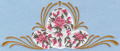 Embroidery Design: Floral easter eggs applique with swirls6.98w X 2.92h