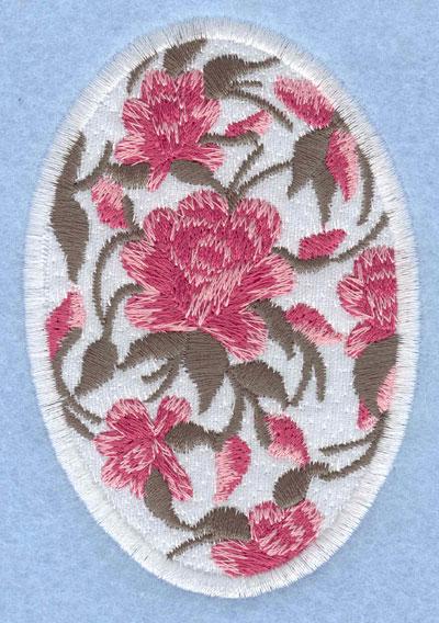 Embroidery Design: Easter egg applique large rose 2.66w X 3.90h