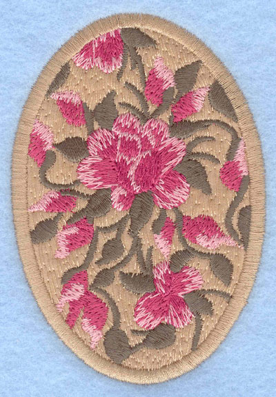 Embroidery Design: Easter egg applique large rose tan2.66w X 3.90h