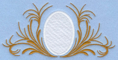 Embroidery Design: Easter egg applique with leafy swirls6.07w X 2.95h