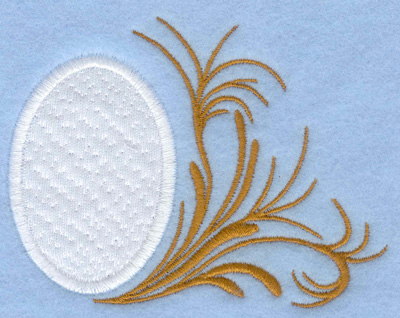 Embroidery Design: Easter egg applique leafy side swirl3.90w X 2.95h