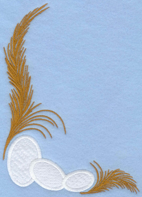 Embroidery Design: Easter eggs applique with feathers5.43w X 7.00h