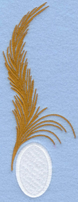 Embroidery Design: Easter egg applique with single feather2.59w X 7.01h
