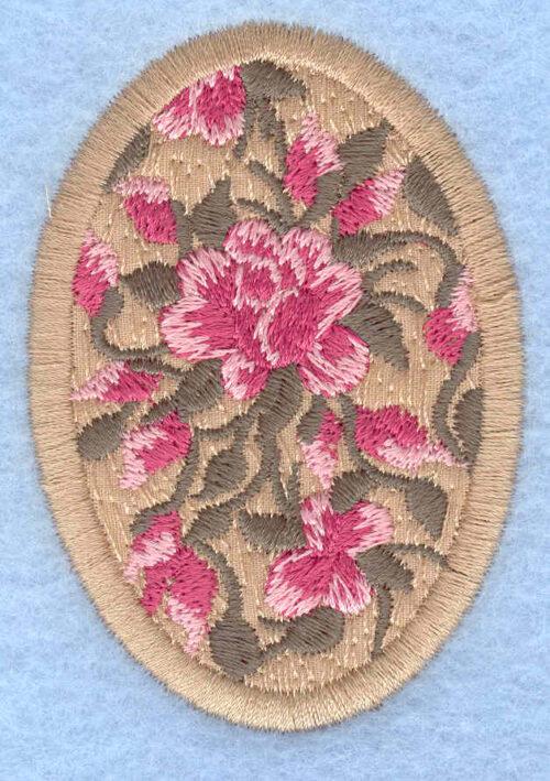 Embroidery Design: Easter egg applique medium rose tan1.91w X 2.74h