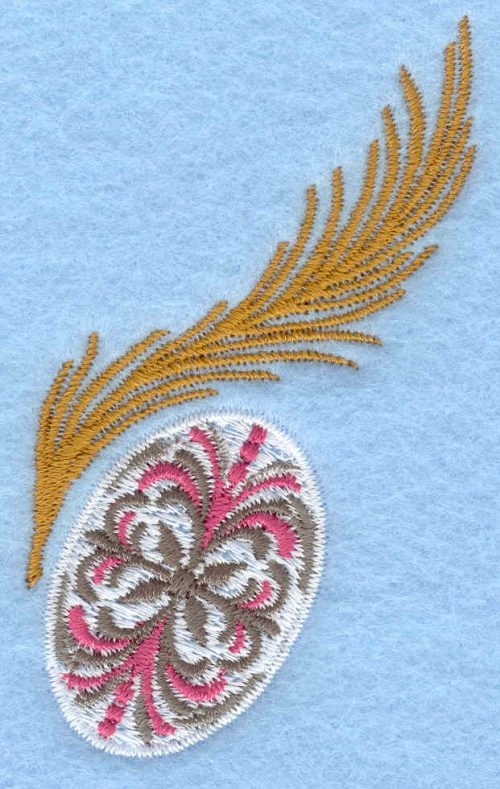 Embroidery Design: Patterned egg with feather1.87w X 3.10h