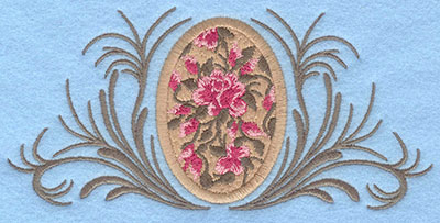 Embroidery Design: Tan rose applique egg with leafy swirls6.21w X 2.95h