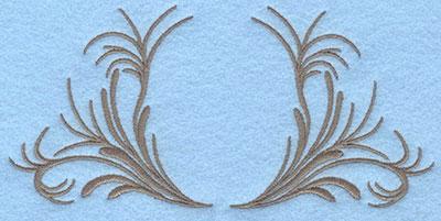 Embroidery Design: Two sided leafy swirls 6.21w X 2.95h