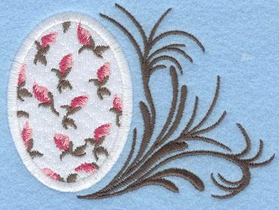 Embroidery Design: Medium rose bud egg with swirl4.07w X 2.95h